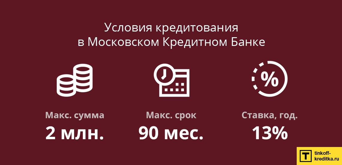 Самостоятельный расчет кредита наличными в Московском Кредитном Банке физическим лицам