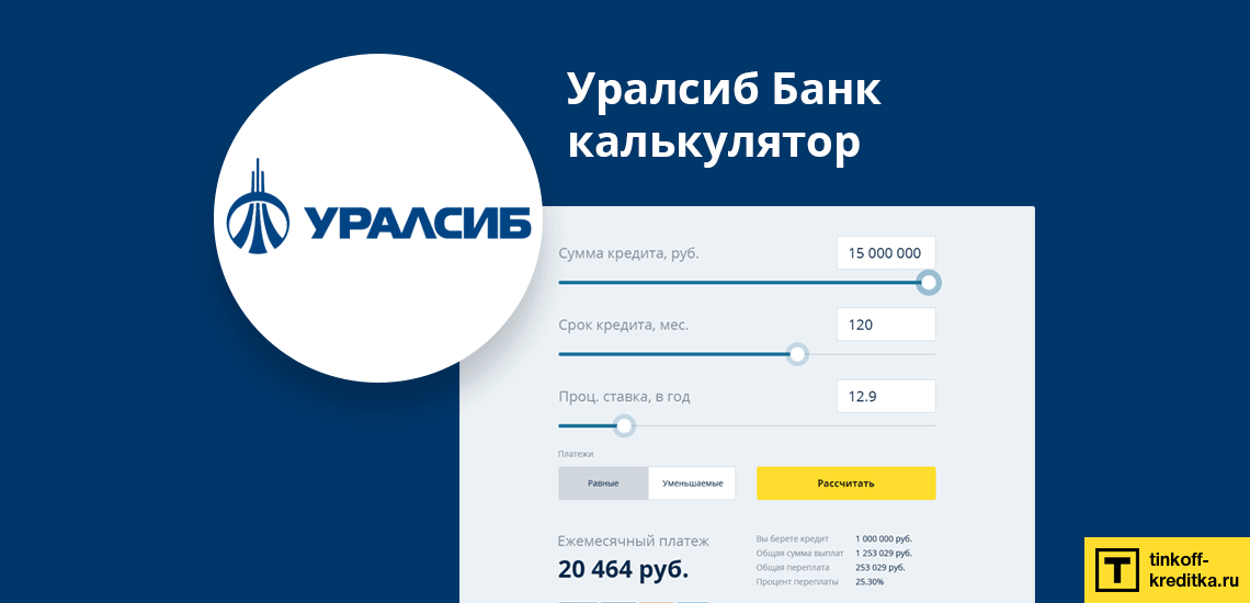 Кредитный калькулятор от банка УРАЛСИБ онлайн