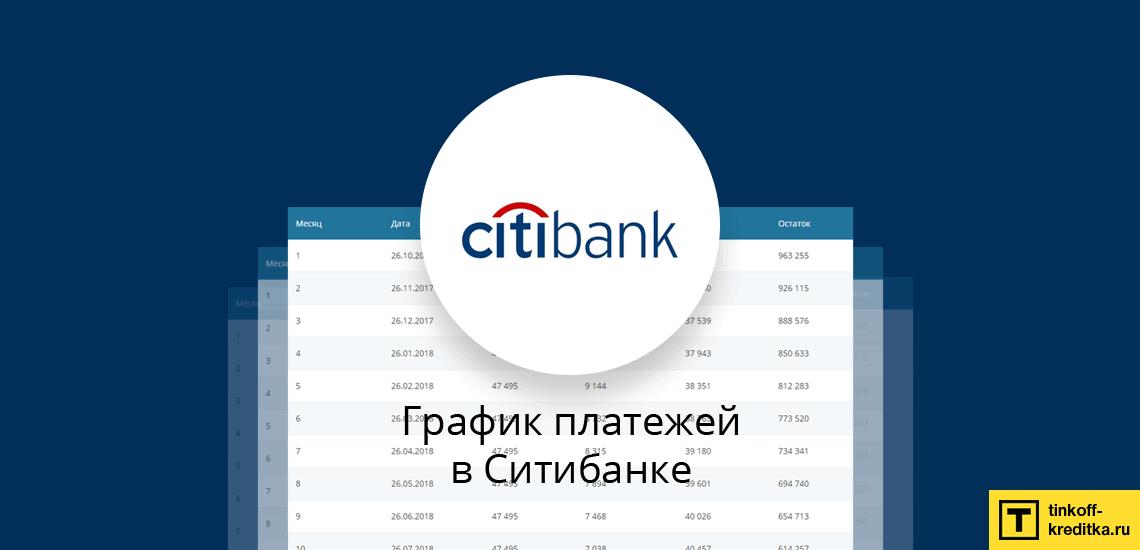 Программа досрочного погашения и графика ежемесячных платежей по кредиту Ситибанка