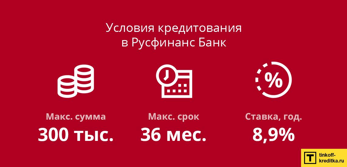 Рассчитать условия кредитования для физических лиц в Банке Русфинанс