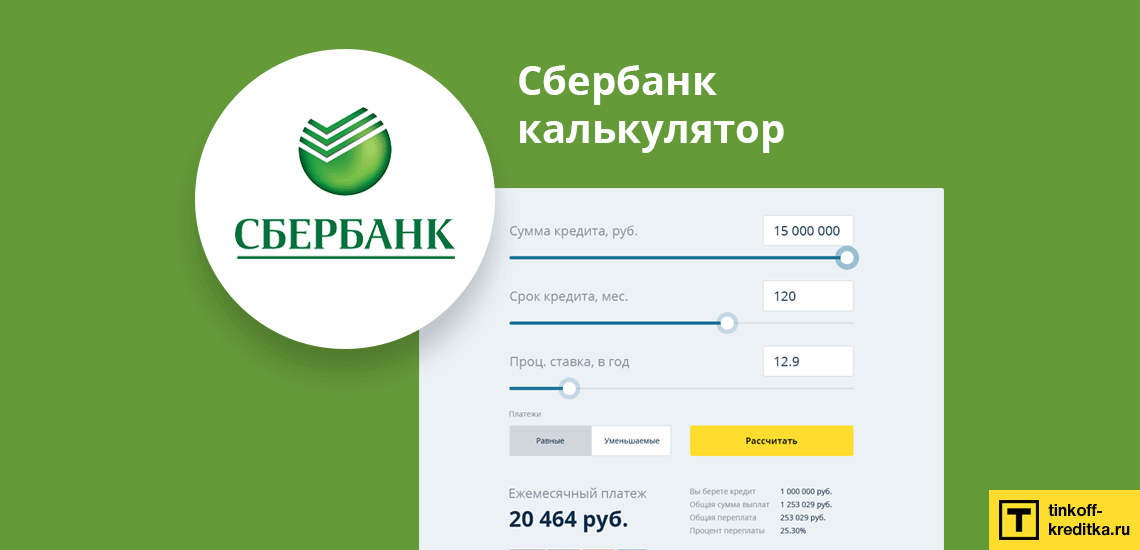 Кредитный калькулятор от Сбербанка онлайн