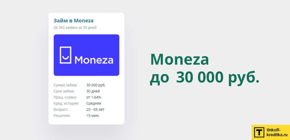 Акция от Монеза: микрозайм до 10 000 рублей под 0% на сроком 30 дней
