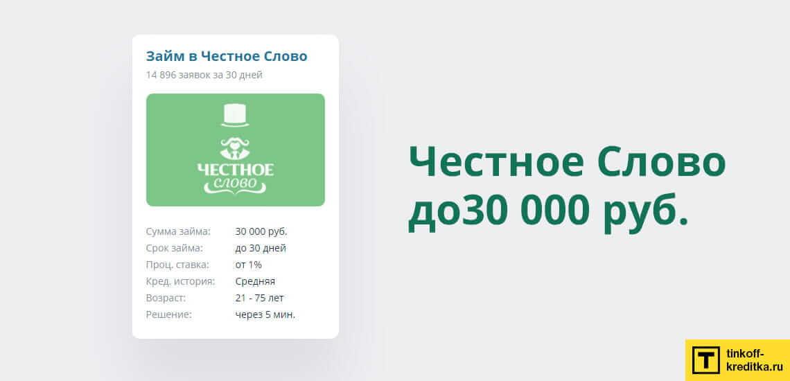 МФО Честное Слово предоставляет беспроцентные скидки на займы до 30 000 рублей