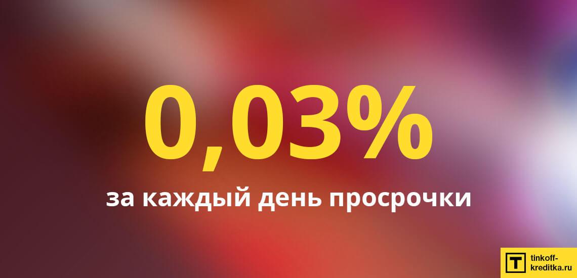 Размер штрафа при неуплате платежей по карточке Райффайзен Банка составляет 0,03% за каждый день просрочки
