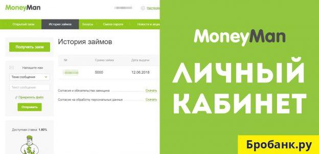 Личный кабинет Манимен - войти по номеру телефона (MoneyMan.ru)