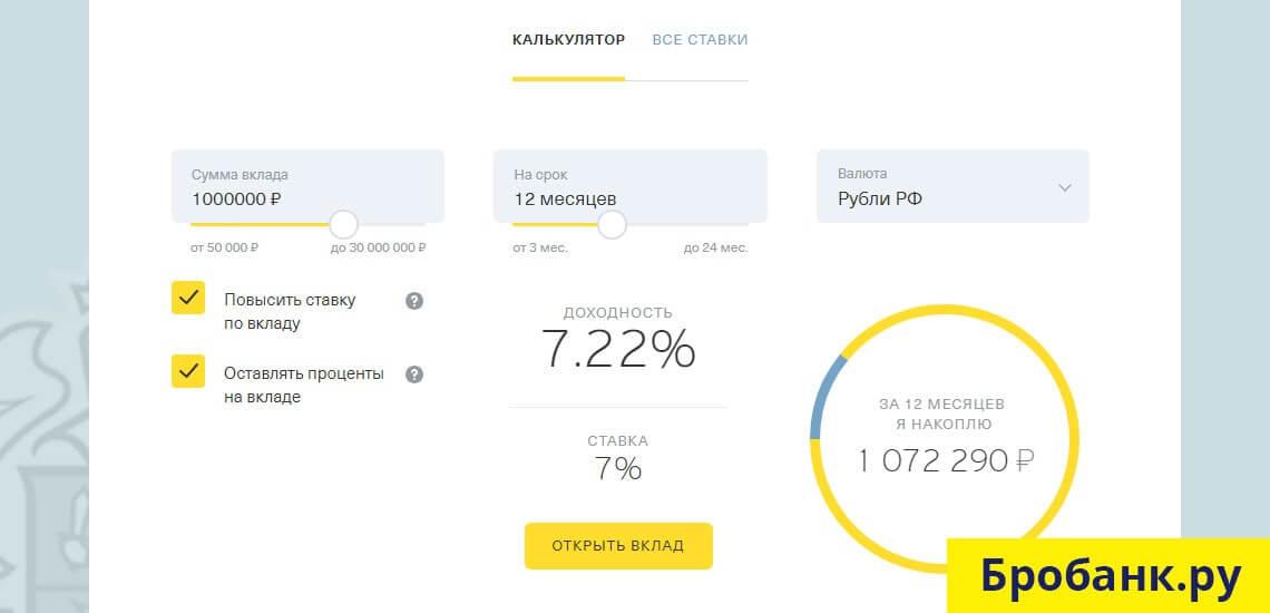 Минимальная сумма вклада в Tinkoff начинается от 50 000 рублей