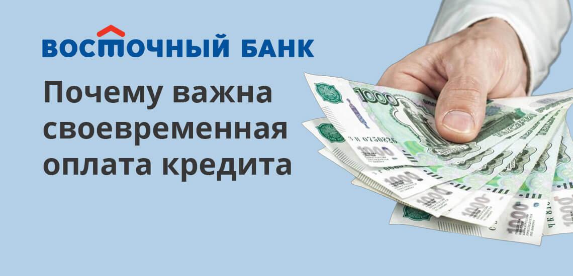 Важно своевременно вносить платежи по кредиту. Делать это можно как в самом отделении Восточного Банка, так и через онлайн-банк, банковскими переводами, терминалы или в отделениях почты