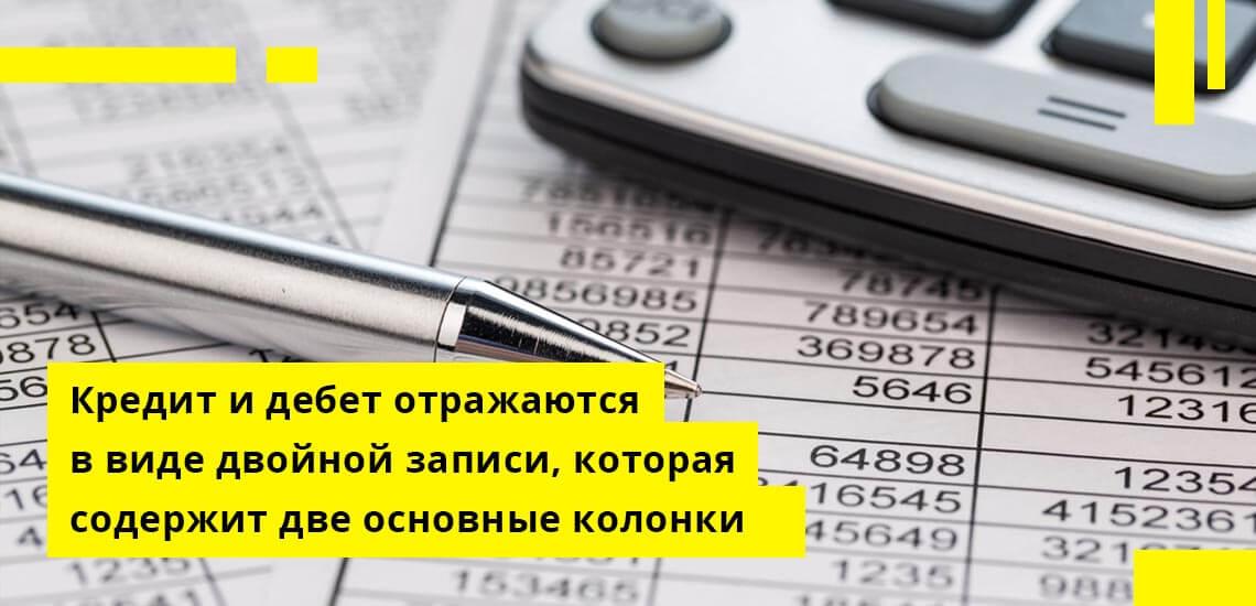 Кредит и дебет отражаются по принципу двойной записи, которая содержит две основные колонки: приходную и расходную