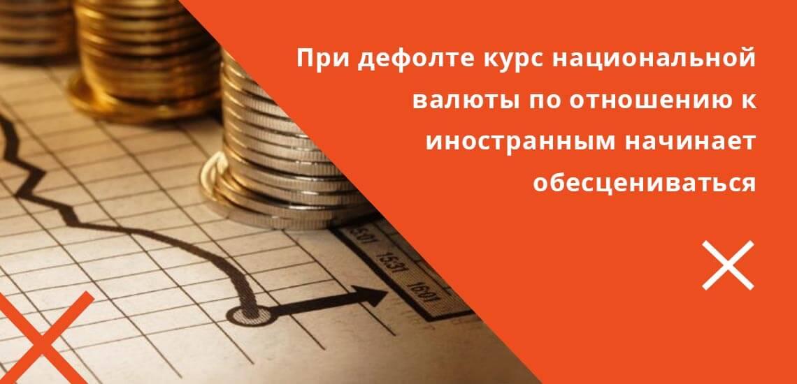 Под дефолтом понимается обесценивание курса национальной валюты по отношению к иностранным валютам