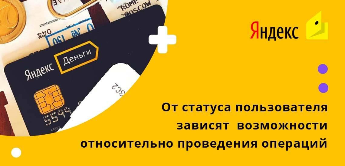 От статуса пользователя в системе во многом зависят его возможности относительно проведения операций с картой Яндекс Деньги
