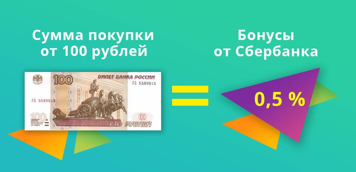Бонусы от самого Сбербанка в размере 0,5 % начисляются, начиная со второго уровня привилегий и суммы товара от 100 рублей