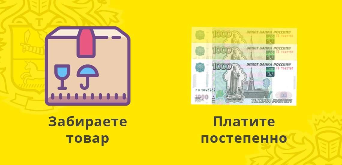 С сервисом Купивкредит от Тинькофф банка покупатель берет товар в кредит: забирает его, а потом постепенно выплачивает всю денежную сумму