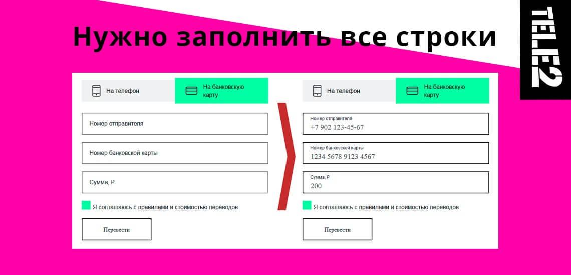 Чтобы совершить перевод через сайт Теле2, нужно будет заполнить все три строки с данными