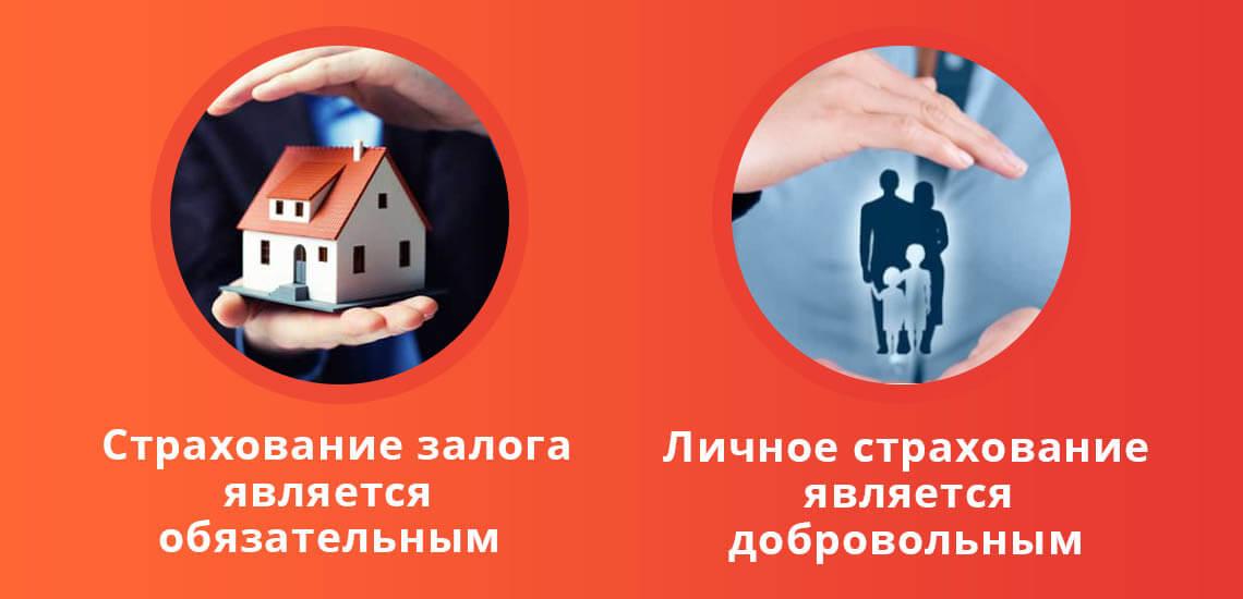 Страхование залога является обязательным, а личное страхование - добровольное