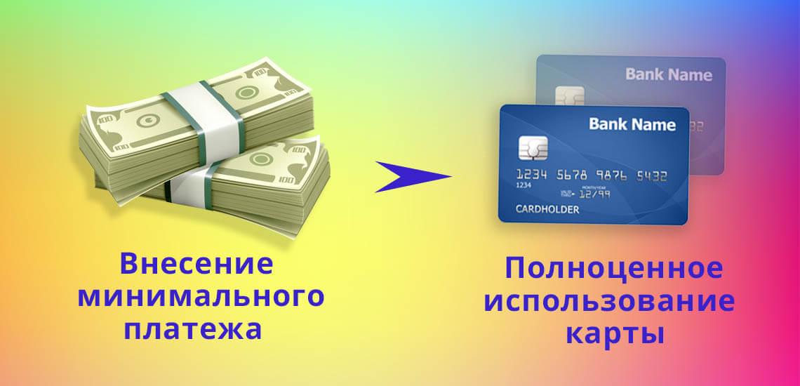 Если возможности вернуть долг в полном размере нет, то будет достаточно внесения минимального платежа, который позволит и дальше пользоваться кредитной картой
