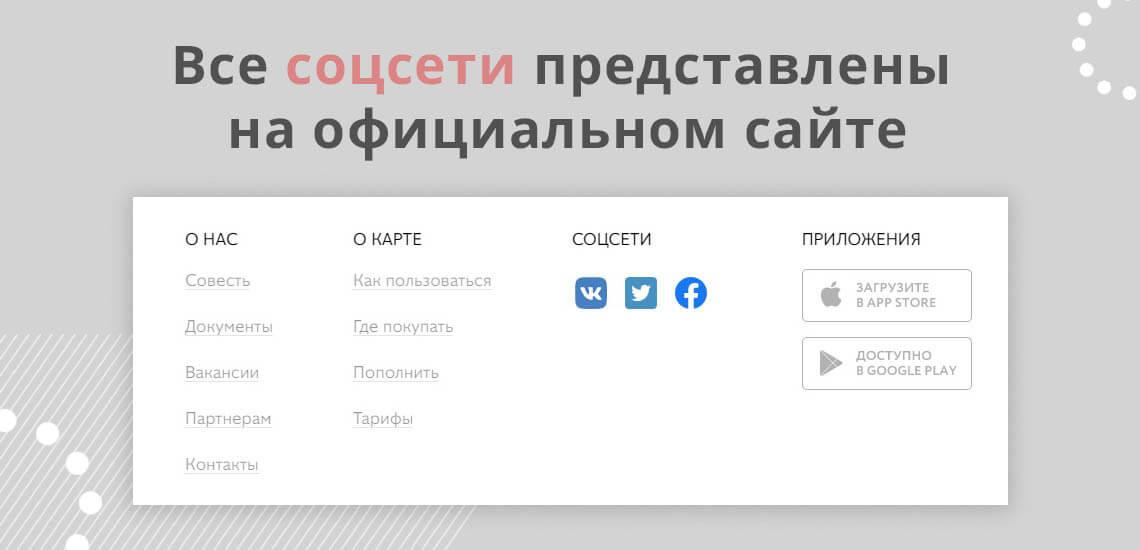 Все соцсети, через которые можно связаться с сотрудниками банка, можно найти на официальном сайте карты