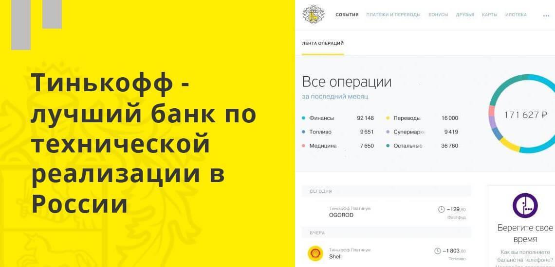 Тинькофф - лучший банк по технической реализации в России