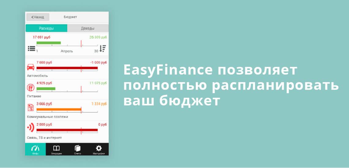 EasyFinance позволяет полностью распланировать ваш бюджет