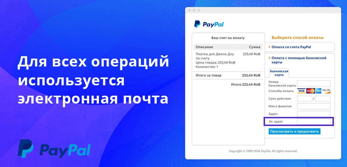 Для всех операций в PayPal используется электронная почта или номер телефона