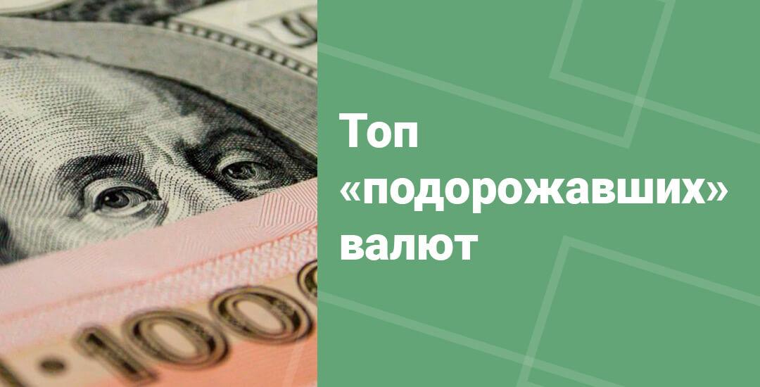 Валюты. подорожавшие по отношению к рублю