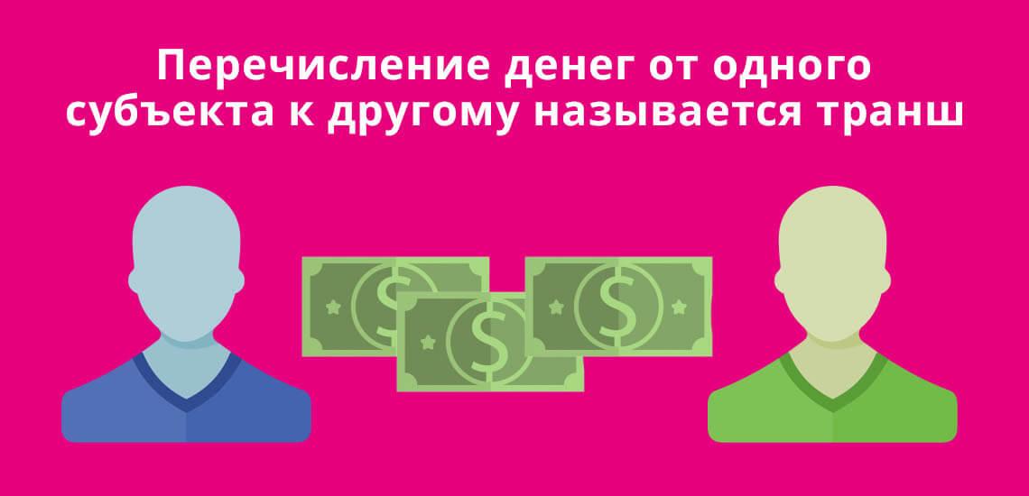 Перечисление денег от одного субъекта к другому называется транш