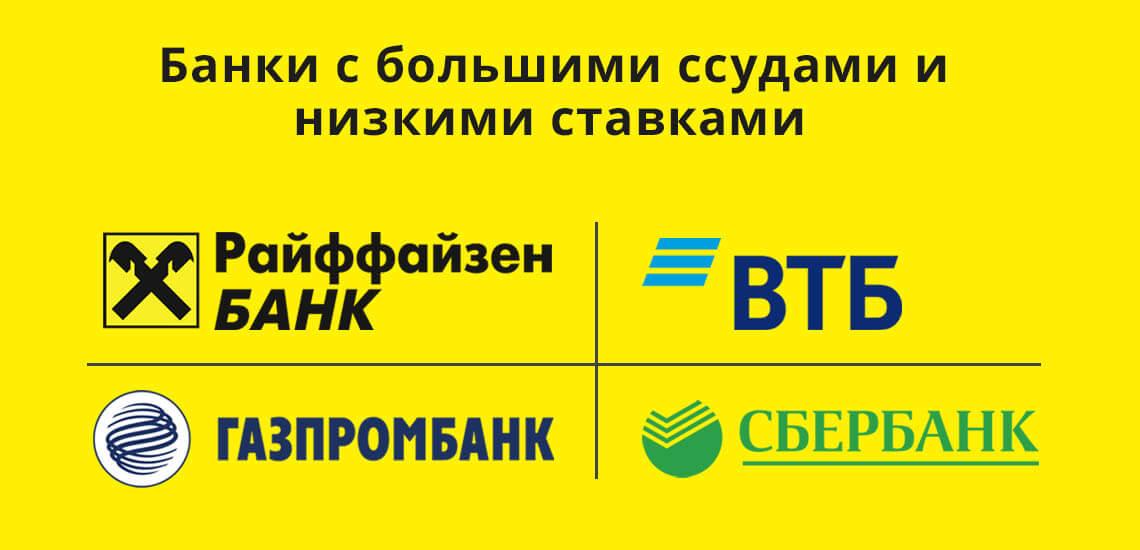 Банки с большими ссудами и низкими ставками: Сбербанк, ВТБ, Газпромбанк, Райффайзен Банк