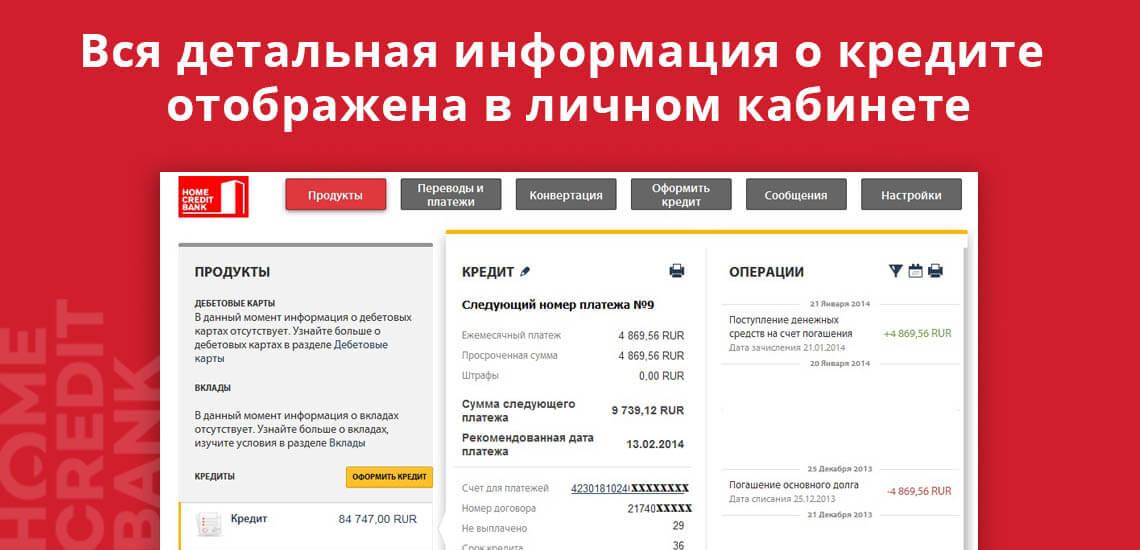 Вся детальная информация о кредите отображена в личном кабинете Хоум Кредит Банка