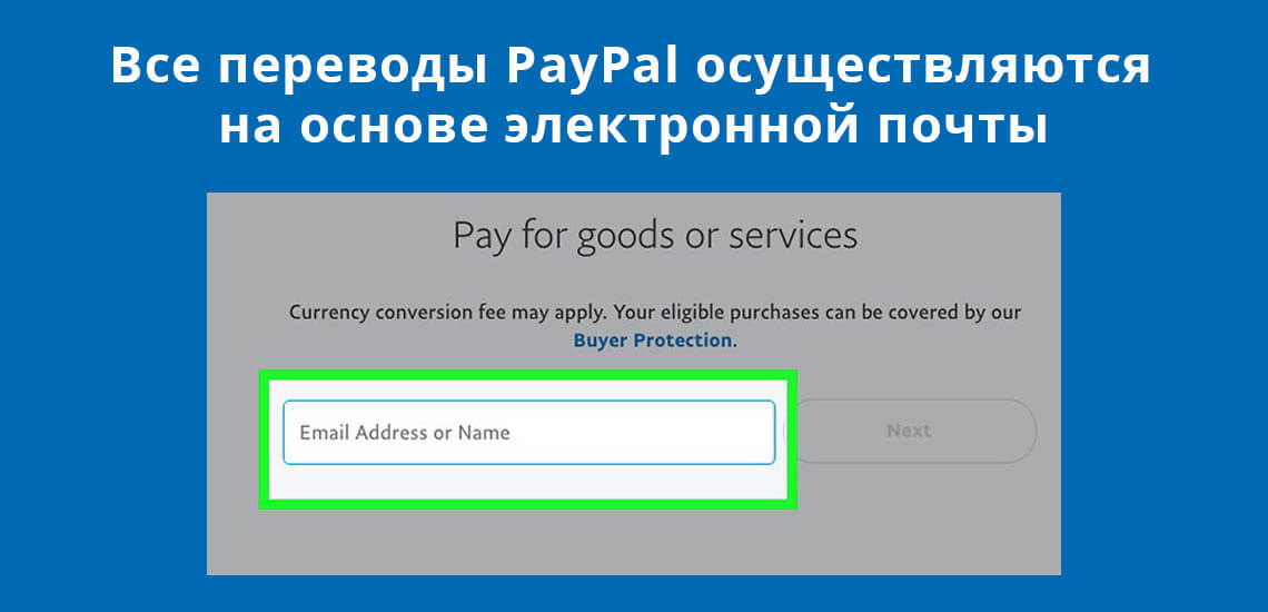 Все переводы PayPal осуществляются на основе электронной почты