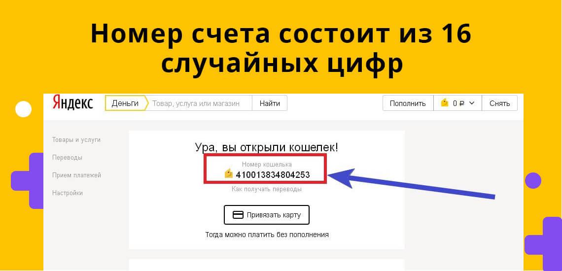 Номер счета Яндекс.Денег состоит из 16 случайных цифр