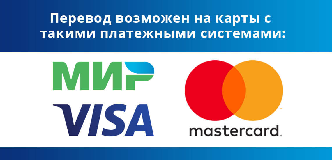 Перевод денег на карты ВТБ возможны с такими платежными системами: Visa, Мир и Master Card