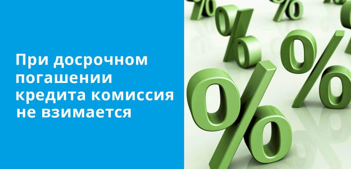 При досрочном погашении ипотечного кредита 7-20-25 комиссия не взимается