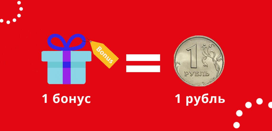 1 бонус в М Видео равняется 1 рублю