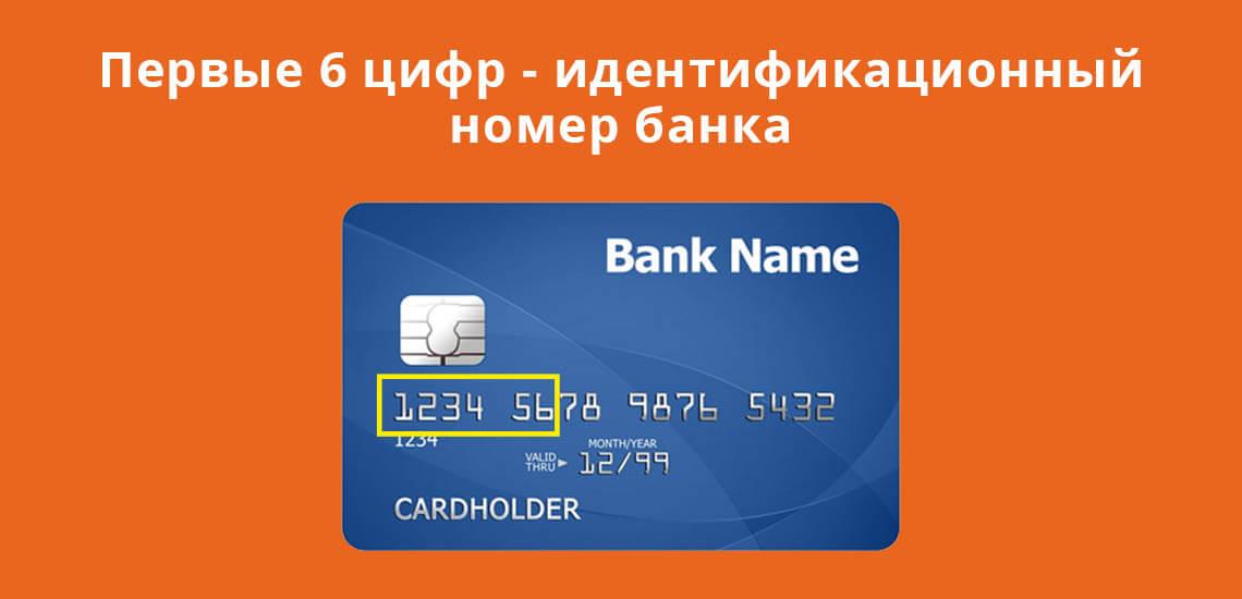 Первые шесть цифр на карте - идентификационный номер банка
