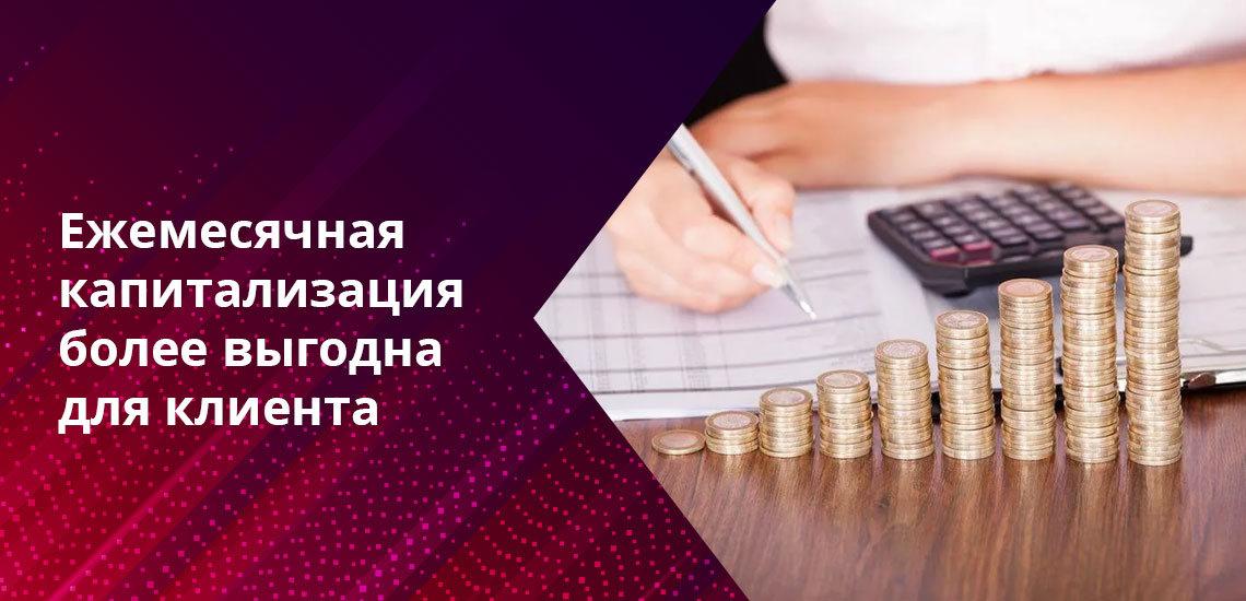 Наиболее популярные среди клиентов варианты - депозит с ежемесячной и ежеквартальной капитализацией