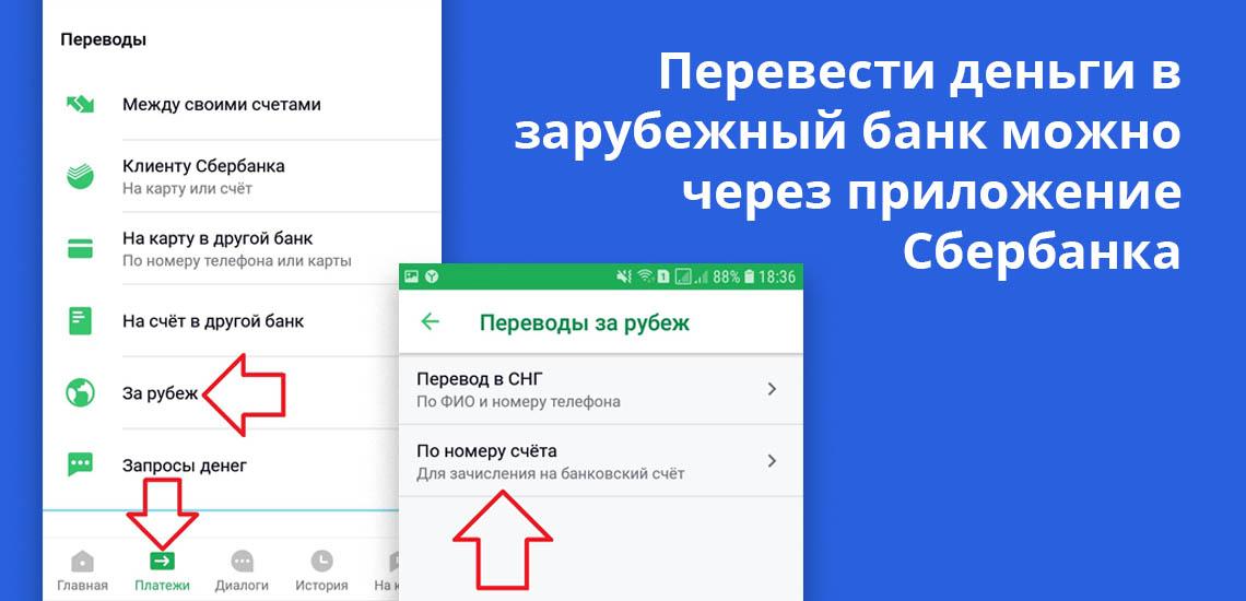 Перевести деньги в зарубежный банк можно через приложение Сбербанка