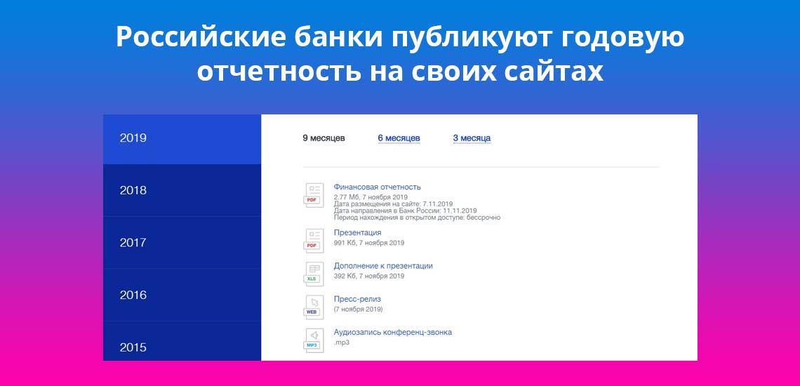 Российские банки публикуют годовую отчетность на своих сайтах
