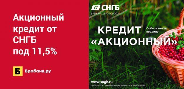 Акционный кредит от СНГБ под 11,5%