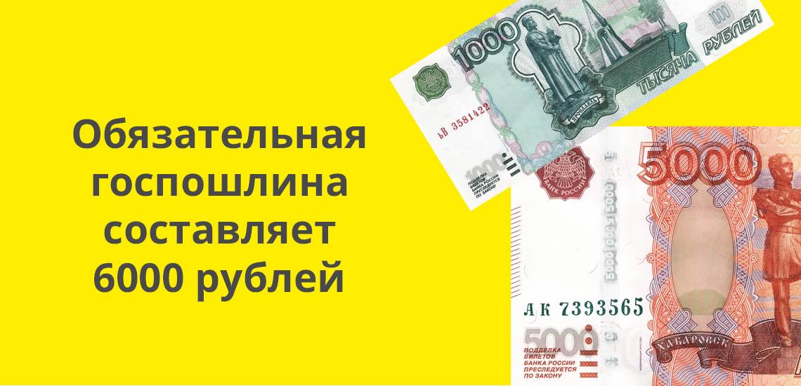 Обязательная госпошлина составляет 6000 рублей