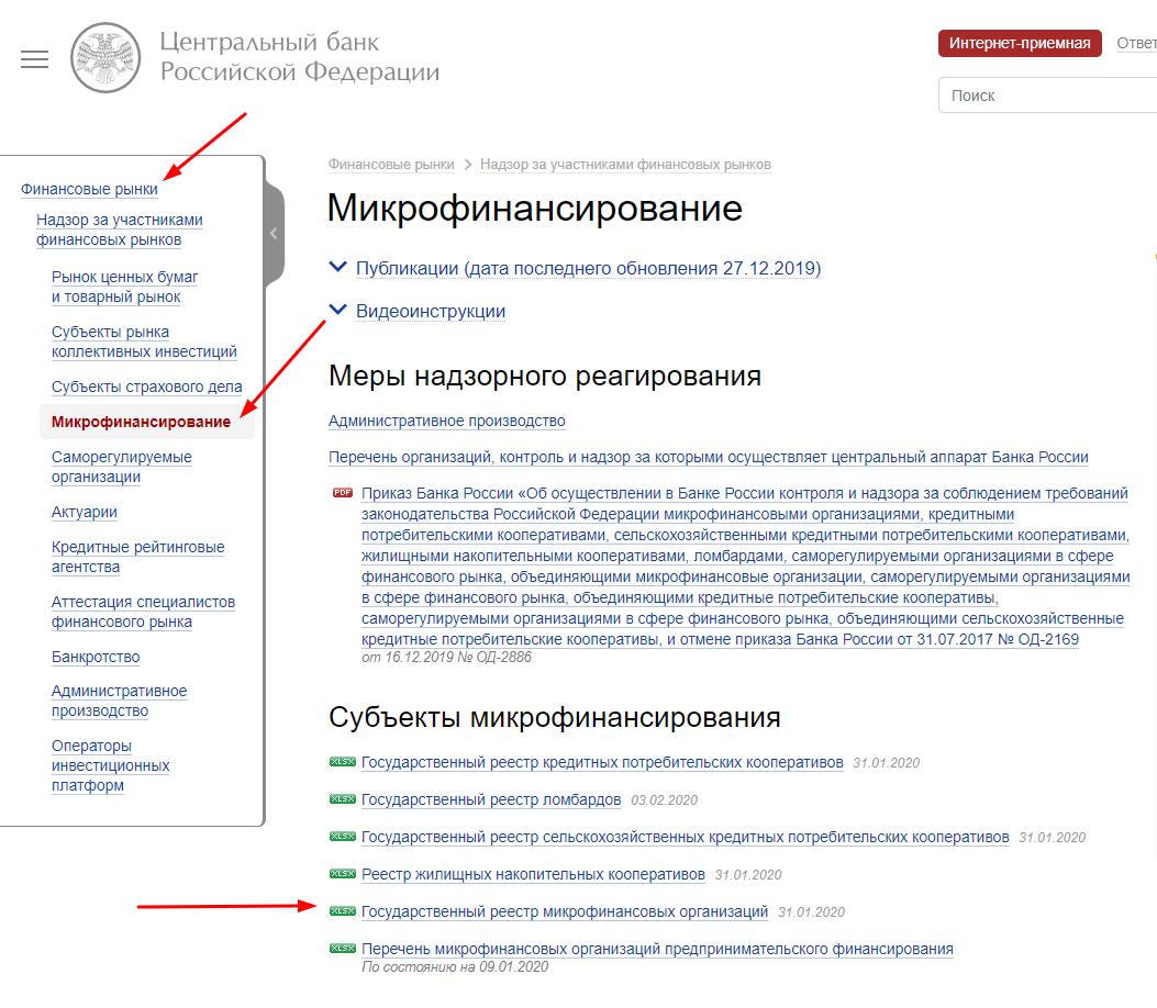 Как найти государственный реестр микрофинансовых организаций