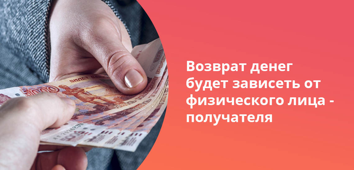 Возврат денег будет зависеть от физического лица - получателя
