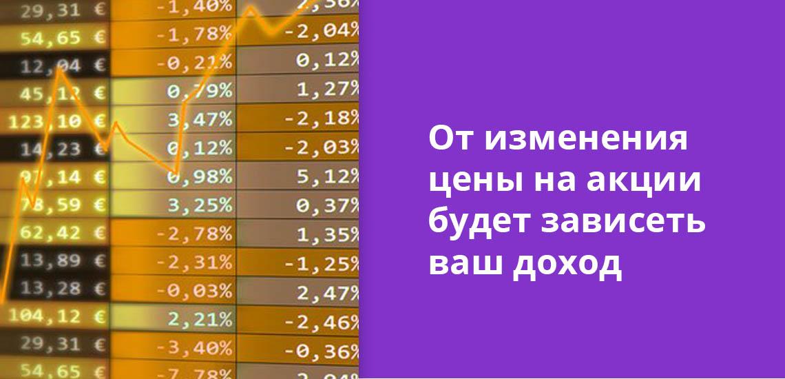 От изменения цены на акции будет зависеть ваш доход