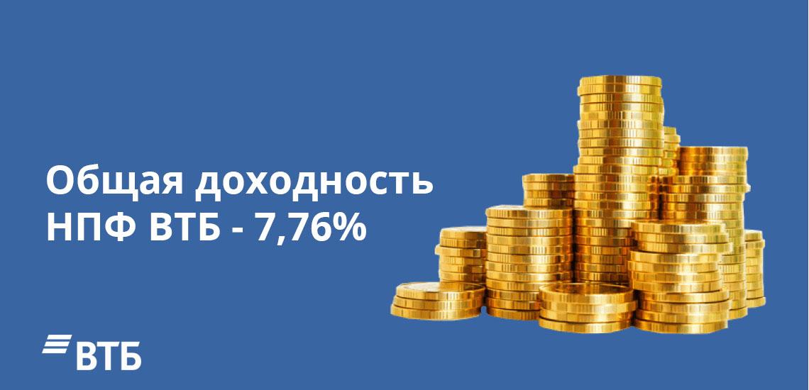 Общая доходность НПФ ВТБ - 7,76%