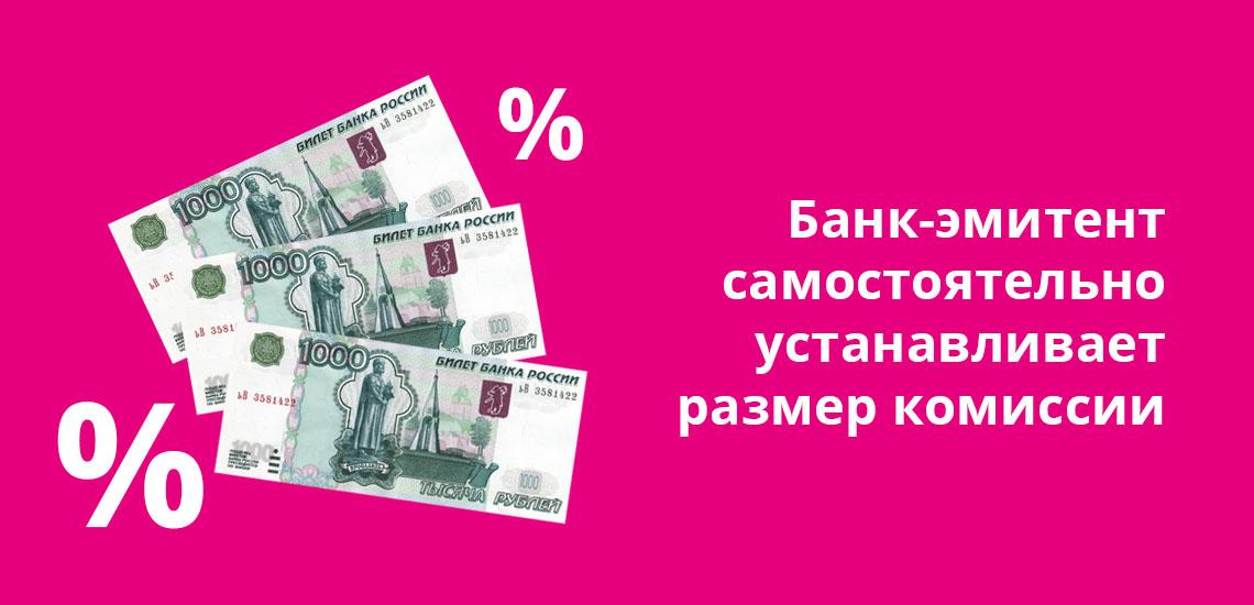 Банк-эмитент самостоятельно устанавливает размер комиссии