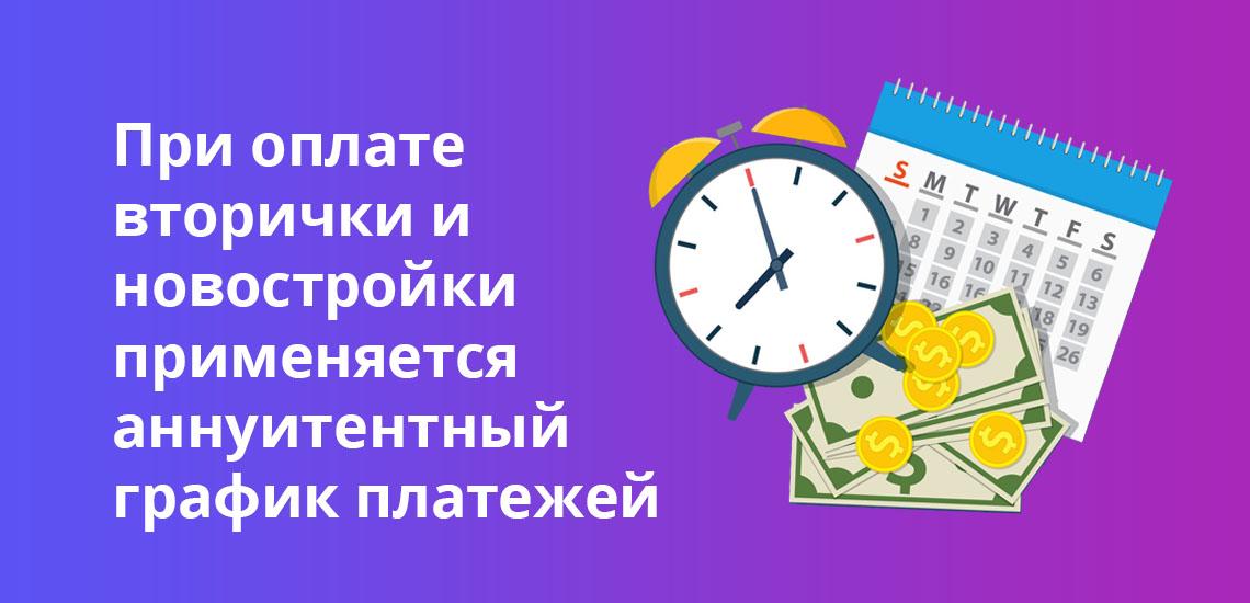При оплате вторички и новостройки применяется аннуитентный график платежей