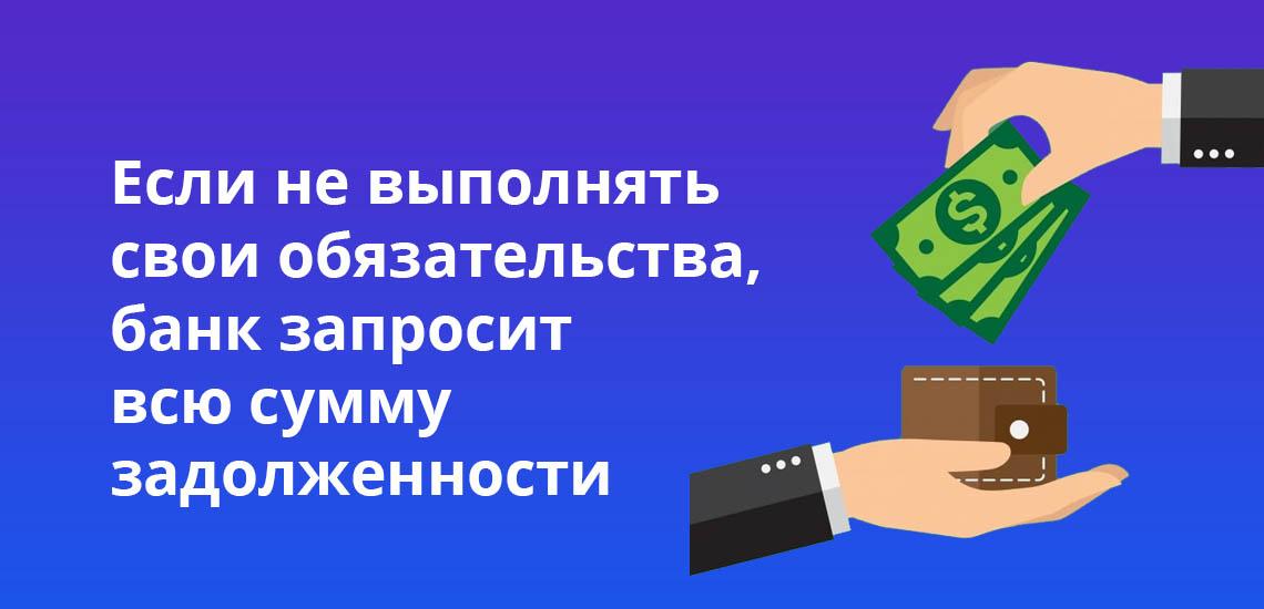 Если не выполнить свои обязательства, банк запросит всю сумму задолженности