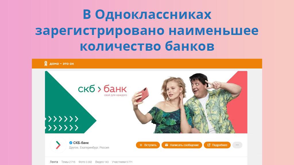 В Одноклассниках зарегистрировано наименьшее количество банков