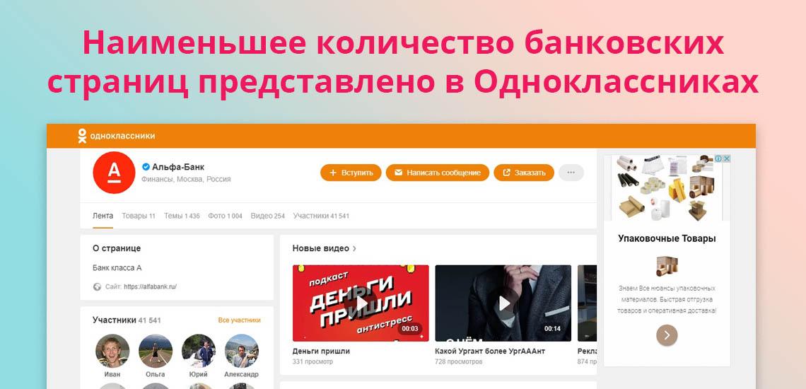 Наименьшее количество банковских страниц представлено в Одноклассниках