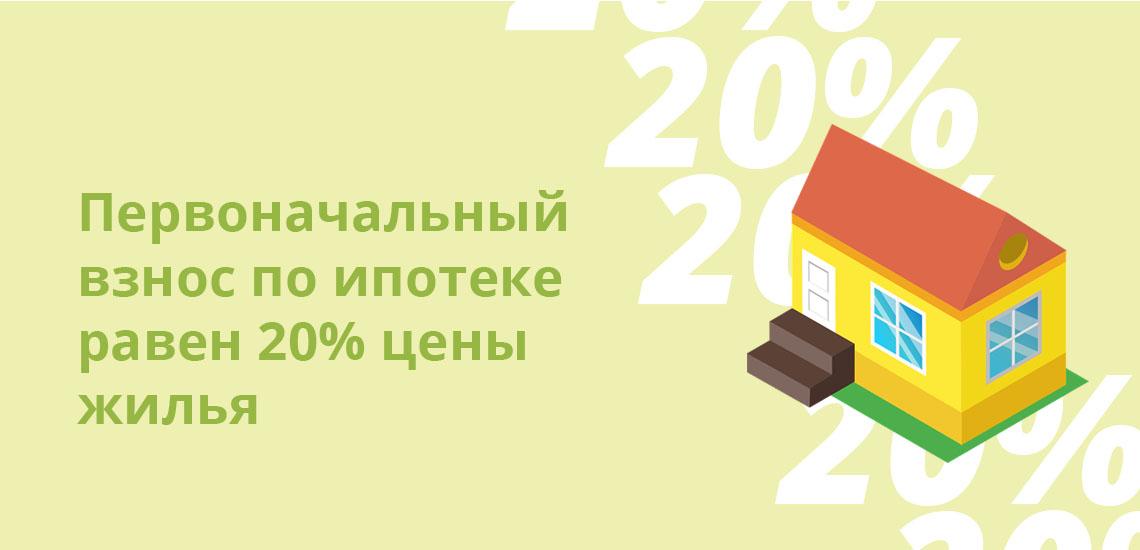 Первоначальный взнос по ипотеке равен 20% цены жилья