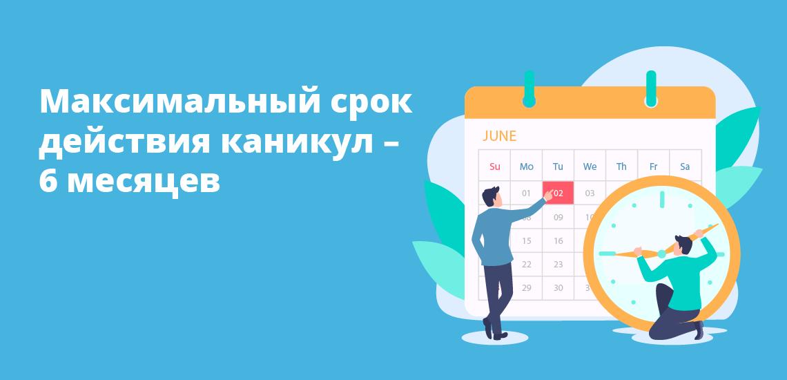 Максимальный срок действия каникул – 6 месяцев