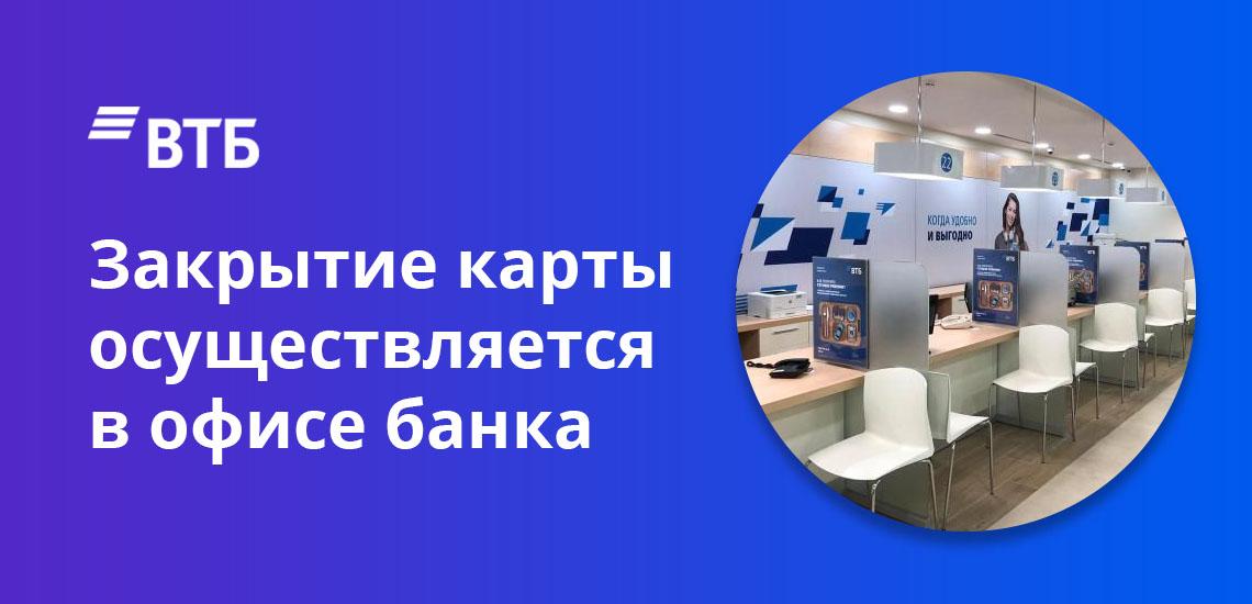 Закрытие карты осуществляется в офисе банка